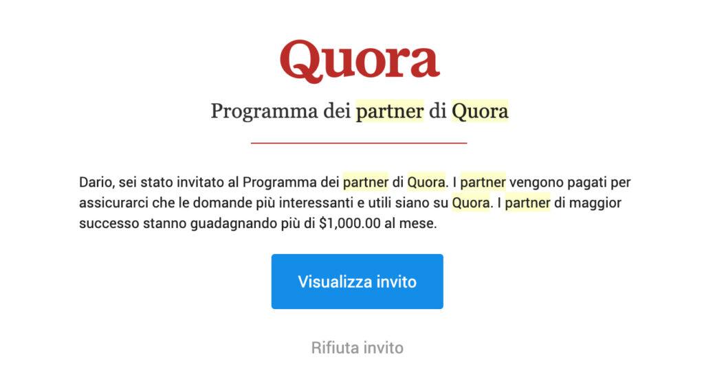 immagine che mostra la mail di invito al programma dei partner di quora