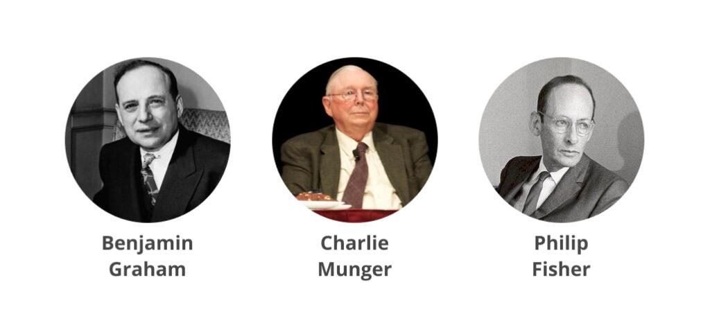 come investe warren buffett - l'immagine rappresenta le tre più grandi influenze di warren buffett: Benjamin Graham, Charlie Munger e Philip Fisher.