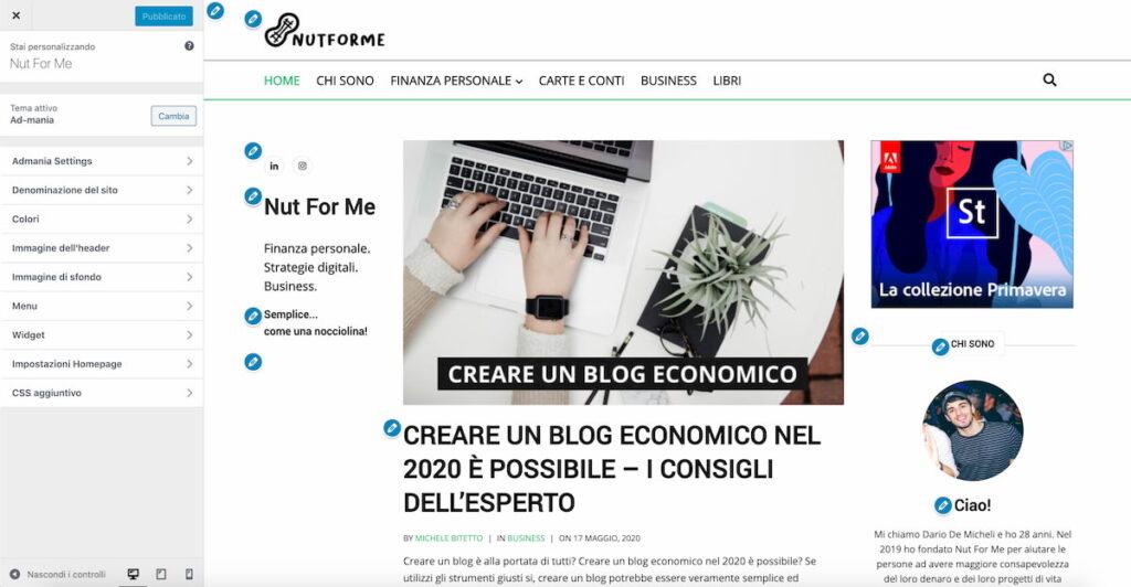 come creare un blog - personalizza la pagina