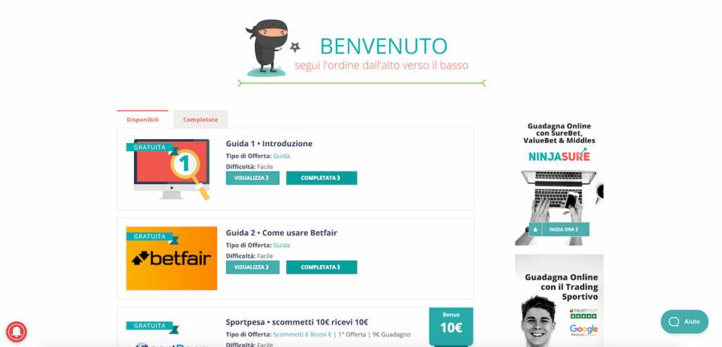 come guadagnare 500 euro da casa - immagine che rappresenta la schermata di benvenuto ninjabet