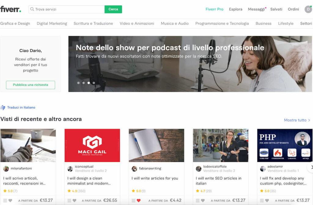 come trovare un freelance - homepage di fiverr