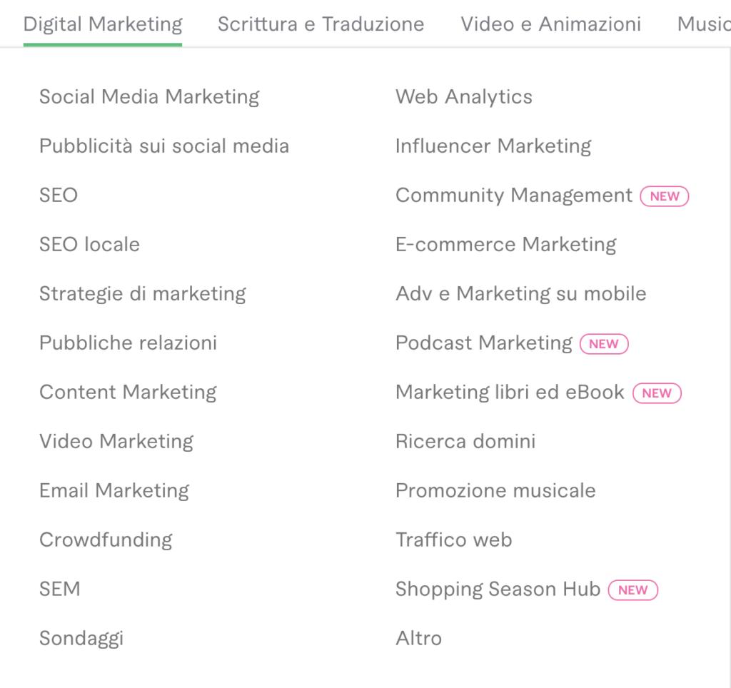 come trovare un freelance - esempio di una categoria e delle sottocategorie corrispondenti