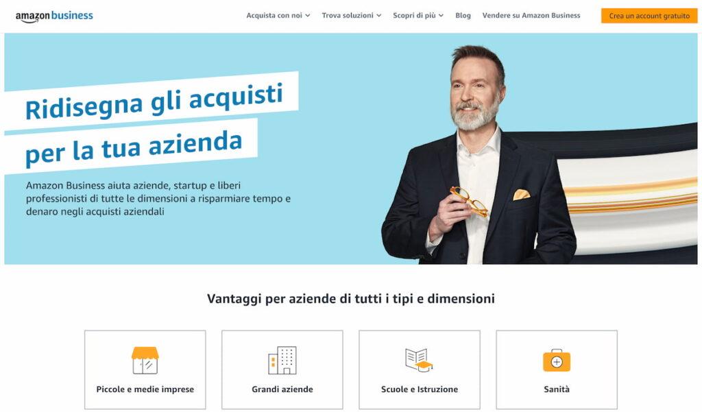 grossisti online: in questa immagine l'homepage di amazon business