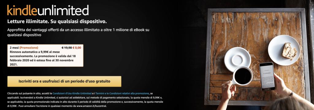 amazon kindle unlimited conviene? schermata che mostra l'accesso al sito di kindle unlimited